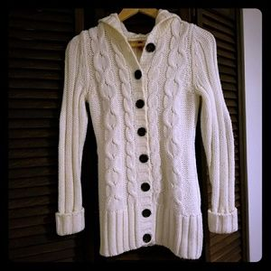 Wool Cable Knit Hooded Sweater Cardigan